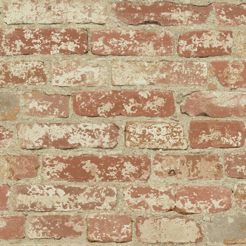 """Joetta Stuccoed 16.5' L x 20.5"""" W Brick Peel and Stick Wallpaper"""