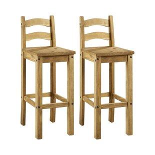 Elegant Appearance American Solid Wood Bar Chair European Bar Chair Retro Stool Backrest Front Desk Bar Chair High Stool Bar Furniture Furniture