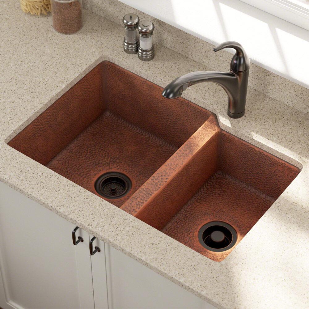 Copper 33 L X 22 W Double Basin Undermount Kitchen Sink