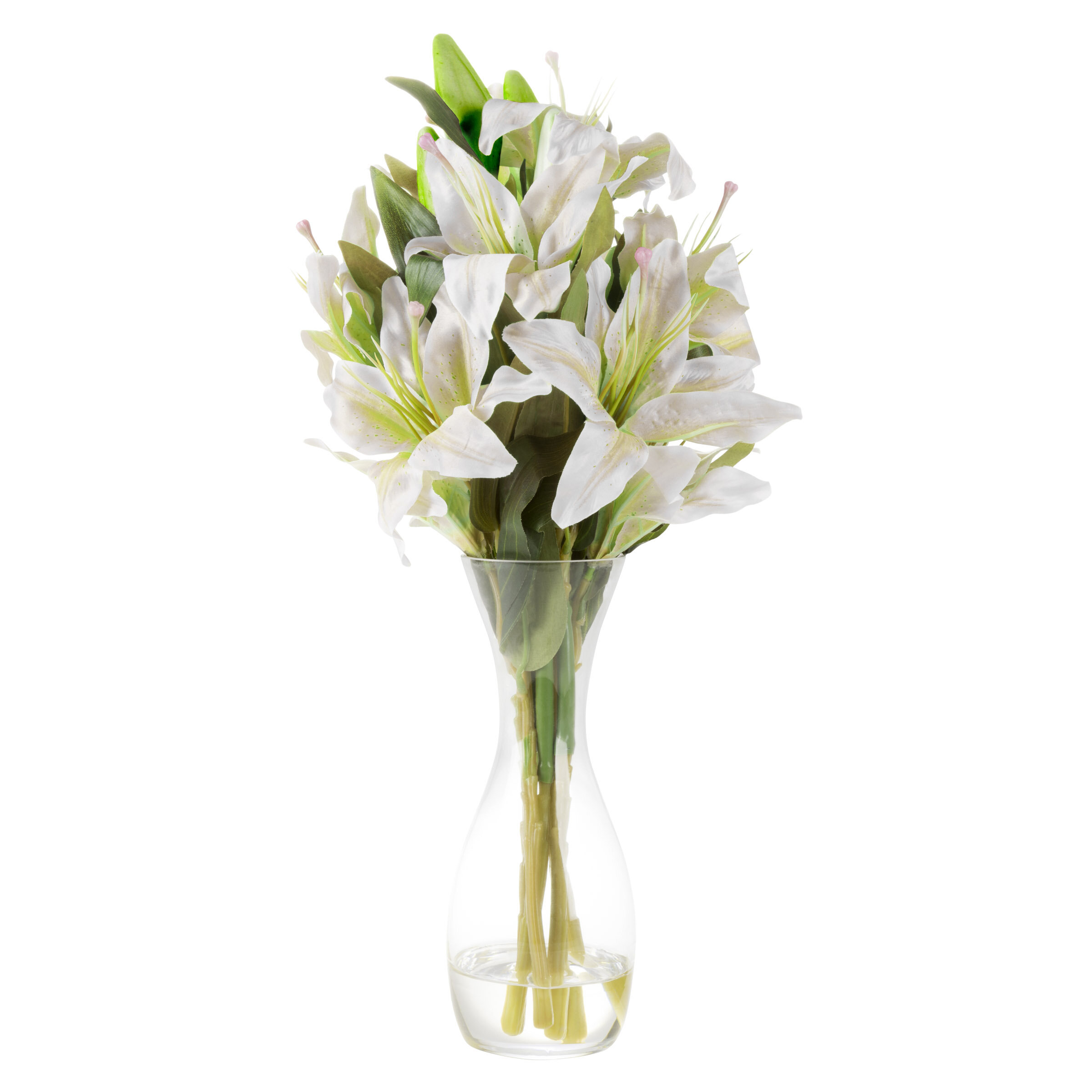 225 & Tall Lily Floral Arrangement in Glass Vase