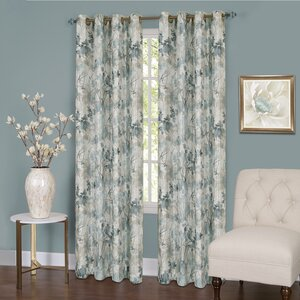 Genevrier Lined Nature/Floral Room Darkening Thermal Single Curtain Panel