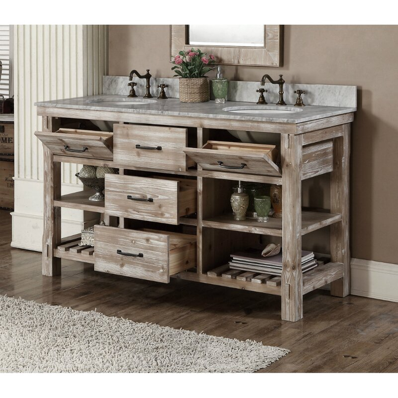 "Rustic Bathroom Vanity Set: Laurel Foundry Modern Farmhouse Clemmie 61"" Double"