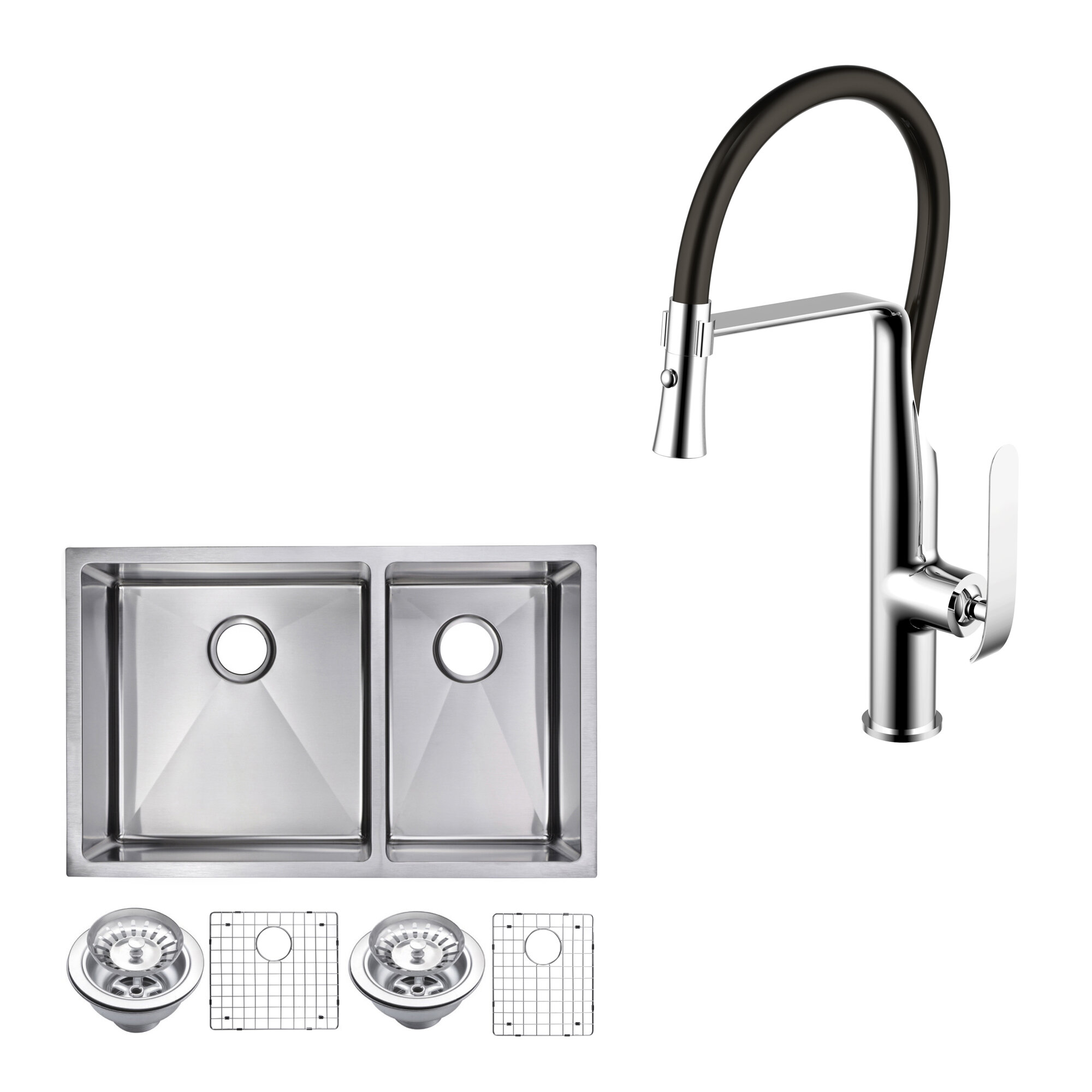 Dcor Design All In One Stainless Steel 32 L X 20 W Double Basin Undermount Kitchen Sink With Faucet Wayfair