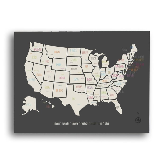 KindredSolCollective My Travels USA Map Graphic Art On Wrapped - Usa map graphic