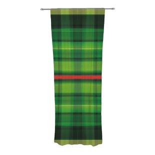 Tartan Plaid Check Sheer Rod Pocket Curtain Panels Set Of 2
