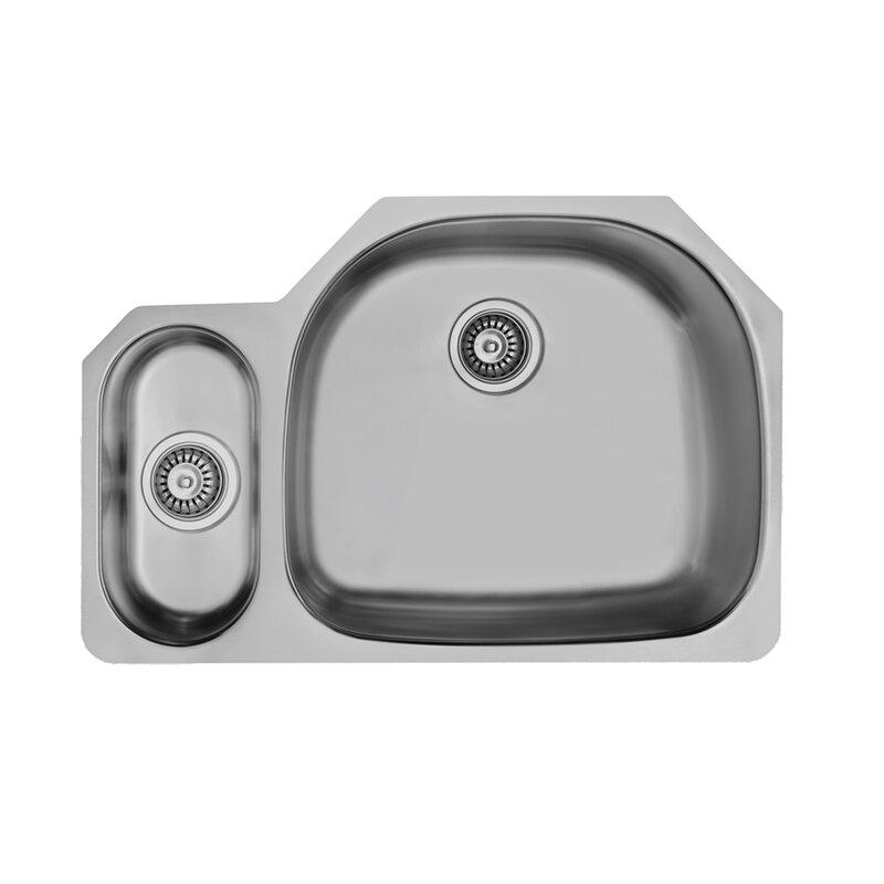 32 Inch Undermount 80/20 Double Bowl 18 Gauge Stainless Steel Kitchen Sink  With Weston