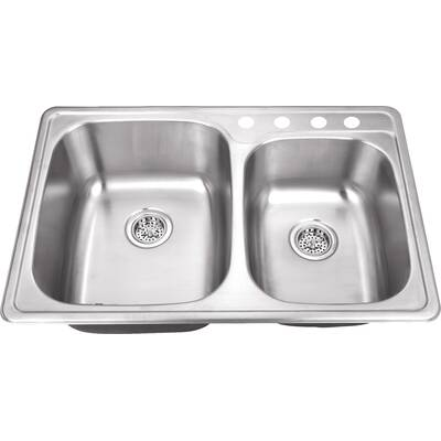 33 L X 22 W Drop In Double Bowl Kitchen Sink Reviews Joss Main