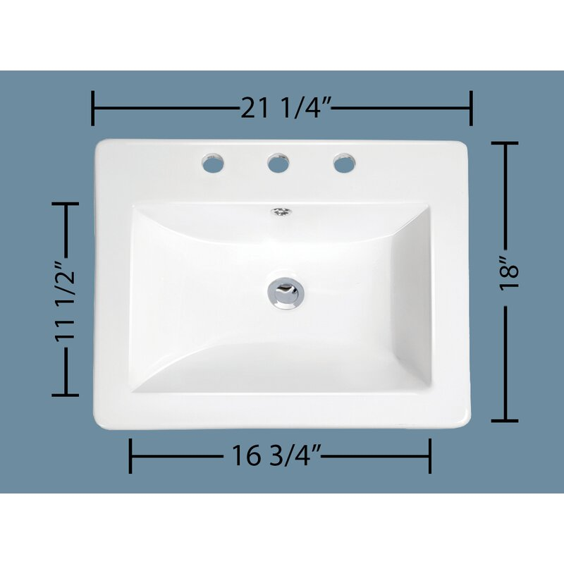 Soleil Top Mount Vitreous Chi Overflona Rectangular Drop In Bathroom