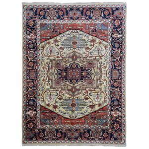 Franktown Serapi Hand-Woven Wool Red/Green Area Rug