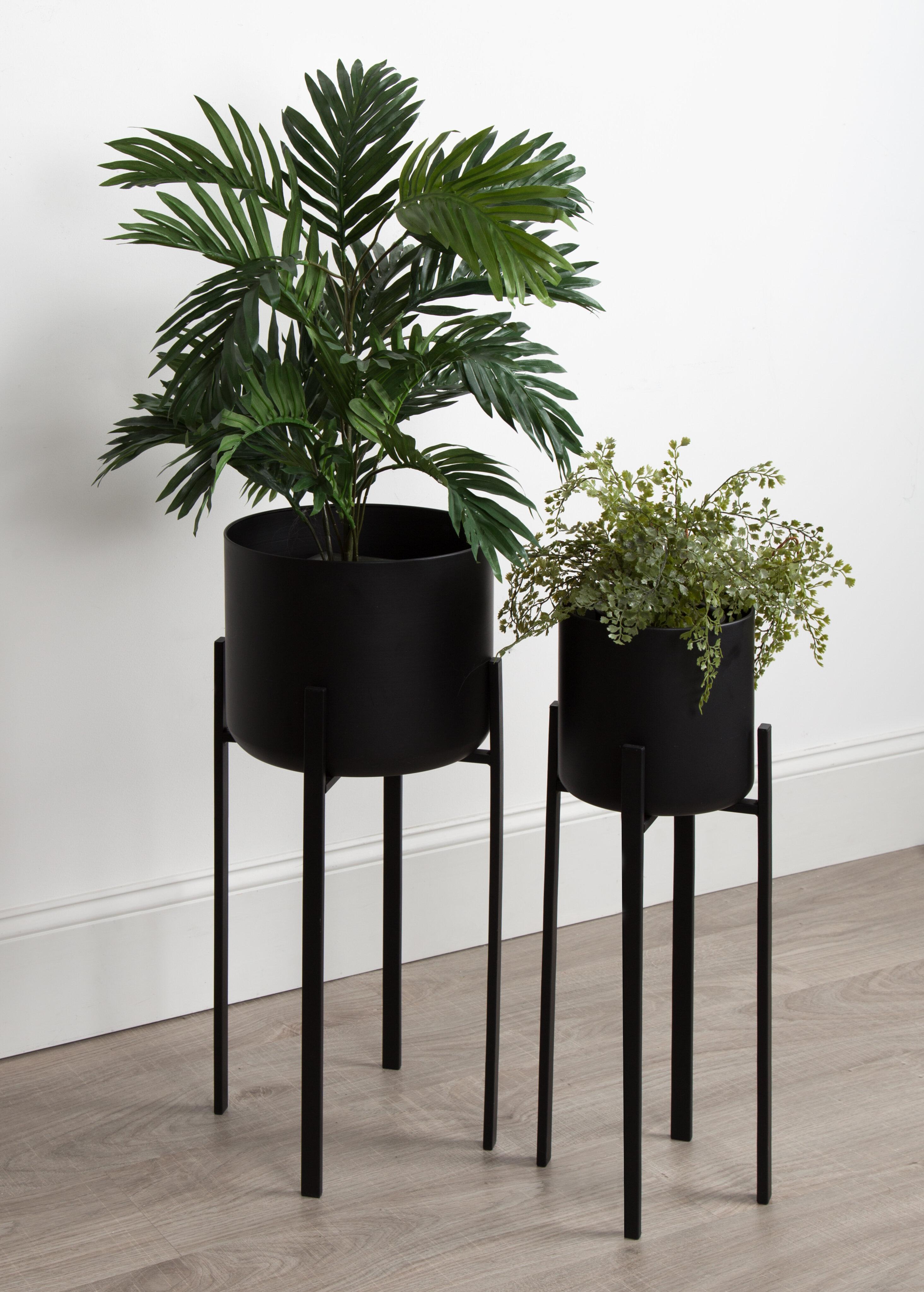 Wrought Studio Coates Decorative Indoor 2 Piece Metal Pot Planter Set With Stand Wayfair