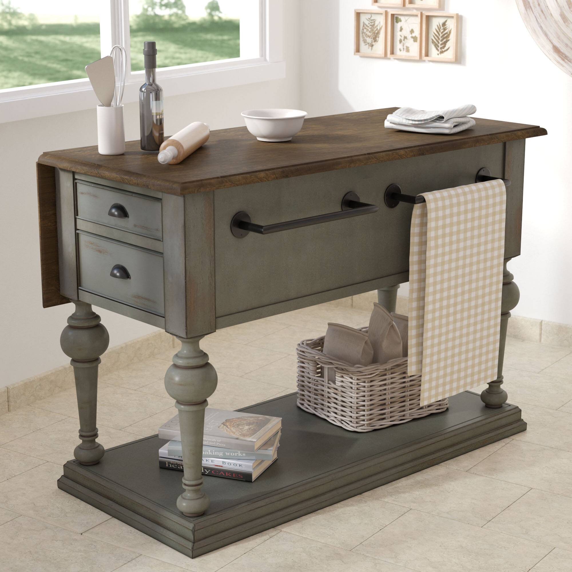 Lark Manor Serpentaire Kitchen Island with Wood Top & Reviews | Wayfair