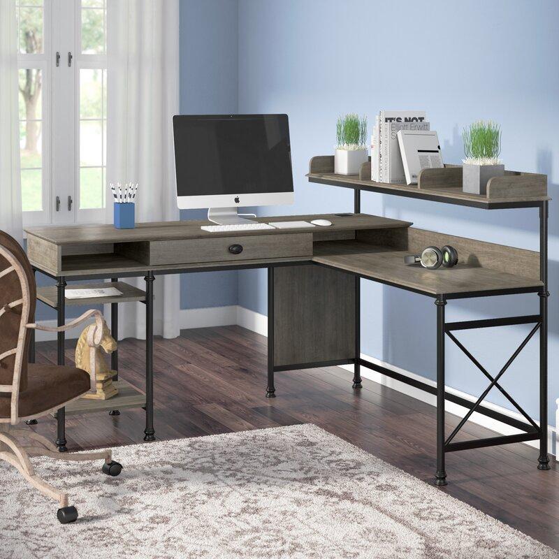 Oakside L Shape Computer Desk With Hutch