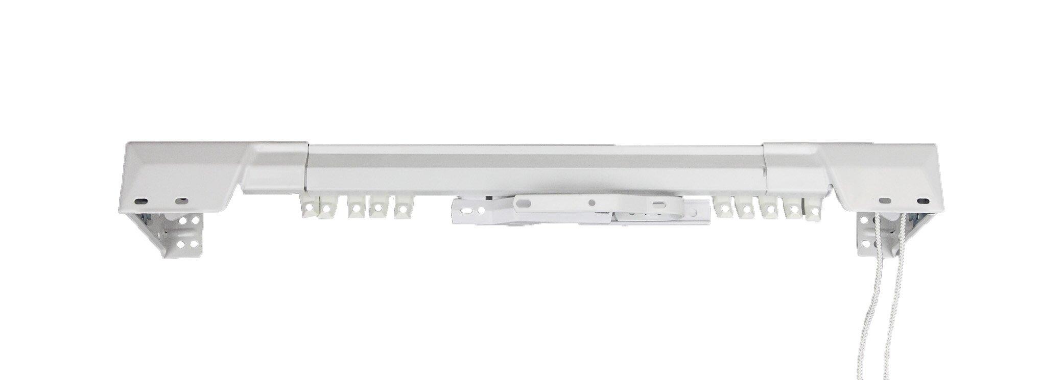 White Traverse Heavy Duty Single Curtain Rod and Hardware Set