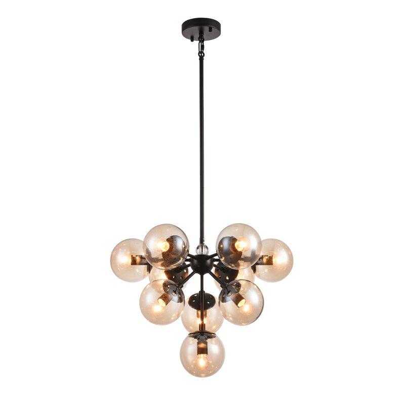 Wrought Studio Stines 10-Light Sputnik Chandelier  Finish: Black, Shade Color: Champagne