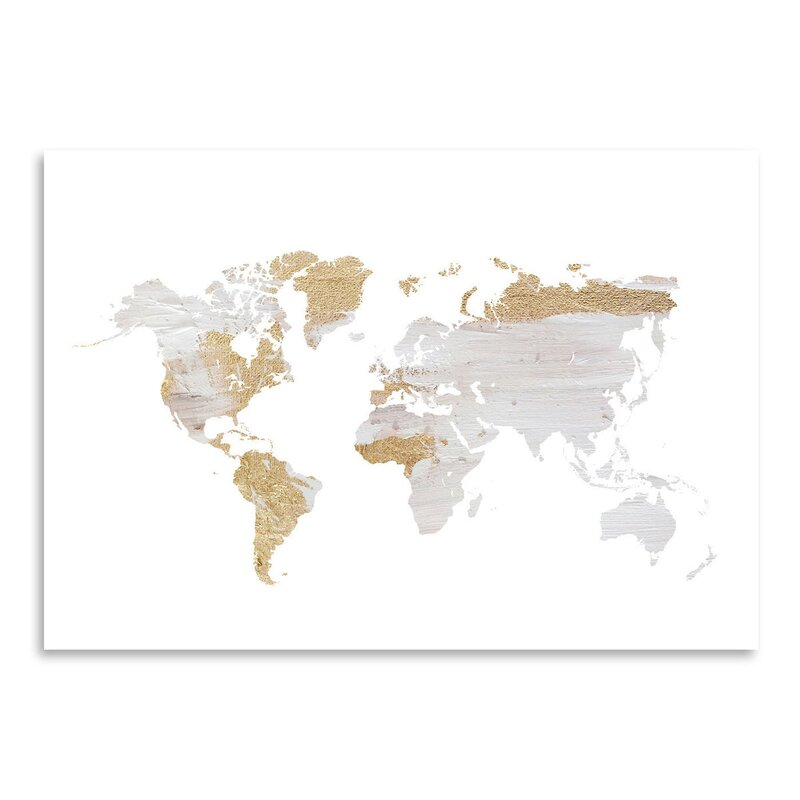 East Urban Home Grey Gold World Map By Ikonolexi Framed Graphic - White framed world map