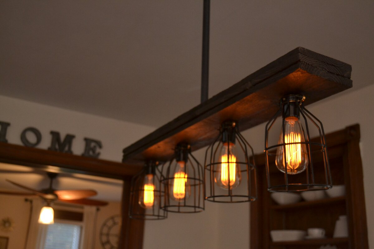 industrial kitchen lights west ninth vintage wood 4 light kitchen island 1845