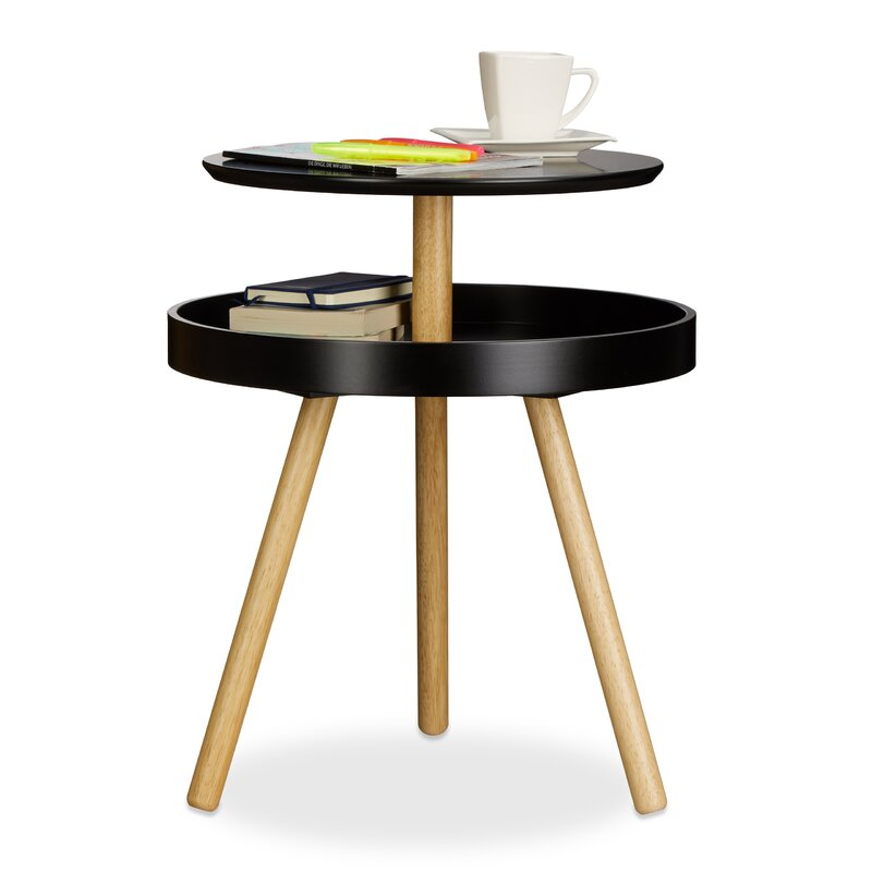 Wooden 3 Legs Round Side Table With Storage