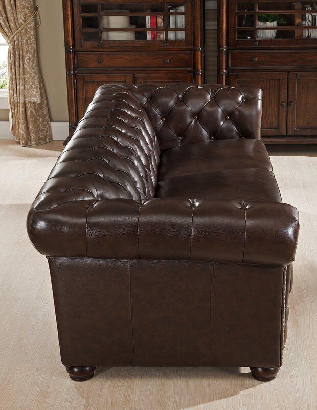 Amax Kensington Top Grain Leather Chesterfield Sofa