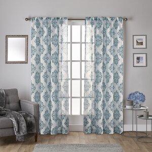 Knisley Belgian Ikat Sheer Rod Pocket Curtain Panels (Set of 2)