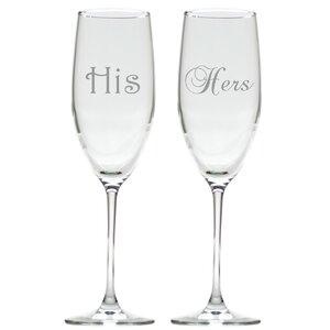 2 Piece His and Hers 8 oz. Champagne Flute Set
