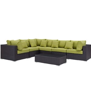 Ryele 7 Piece Rattan Sectional Set with Cushions