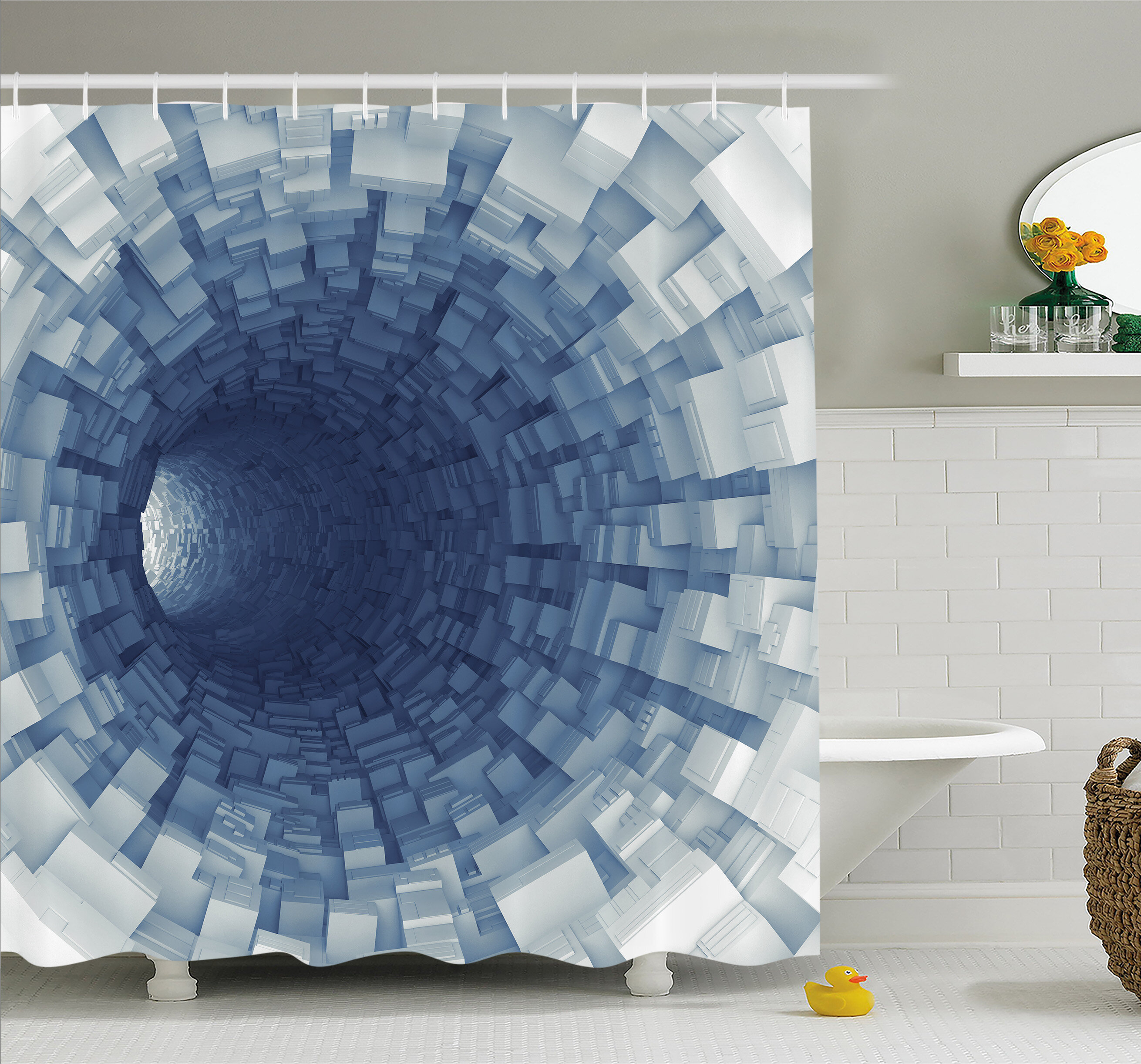Ambesonne Outer Space Endless Tunnel With Fractal Square Shaped Segment Digital Dimension Artwork Shower Curtain Set