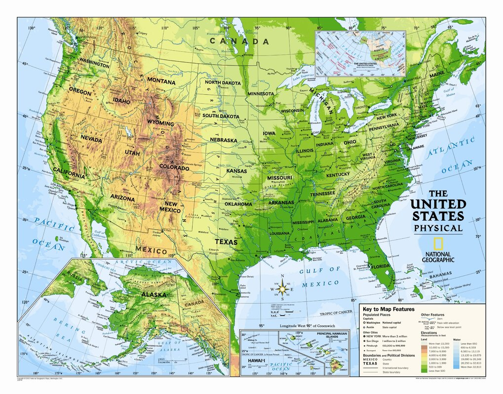 National Geographic Maps Kids Physical USA Wall Map Graded - Us wall map for kids
