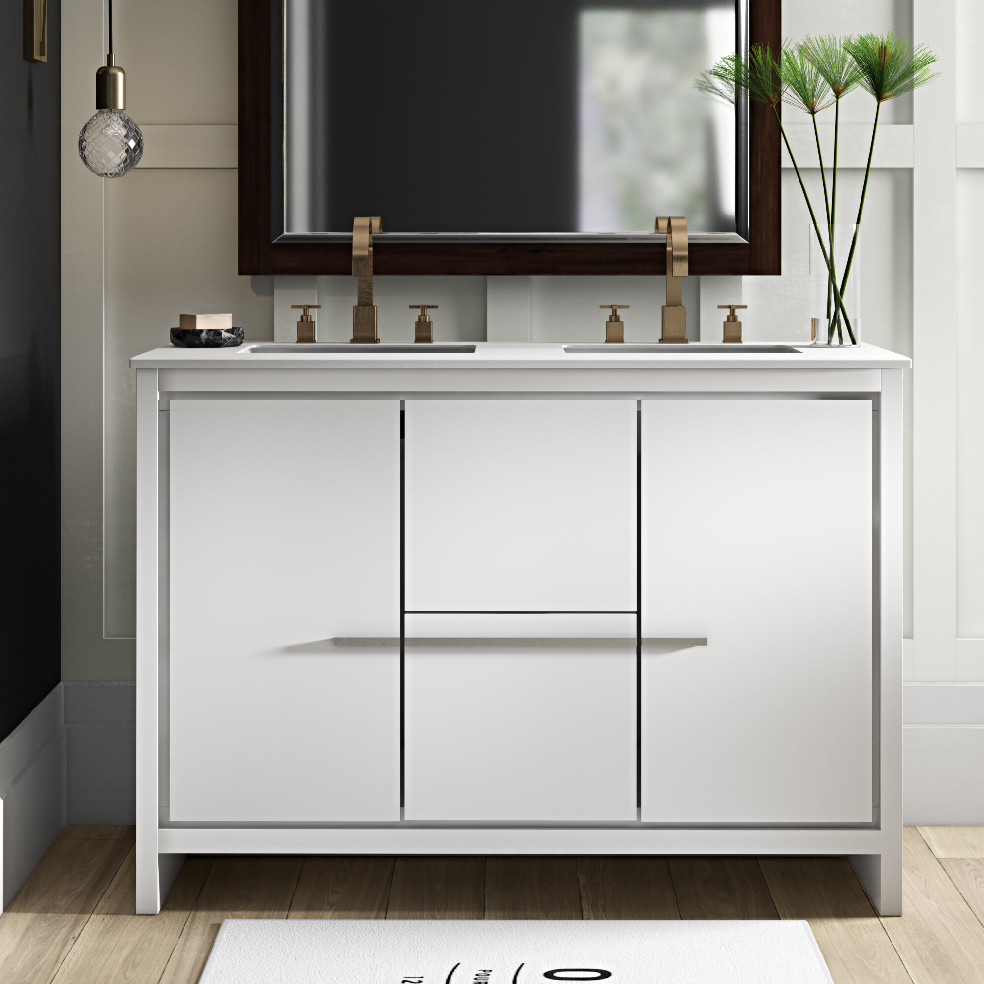 Swell Bosley 48 Double Sink Modern Bathroom Vanity Set Interior Design Ideas Gentotryabchikinfo
