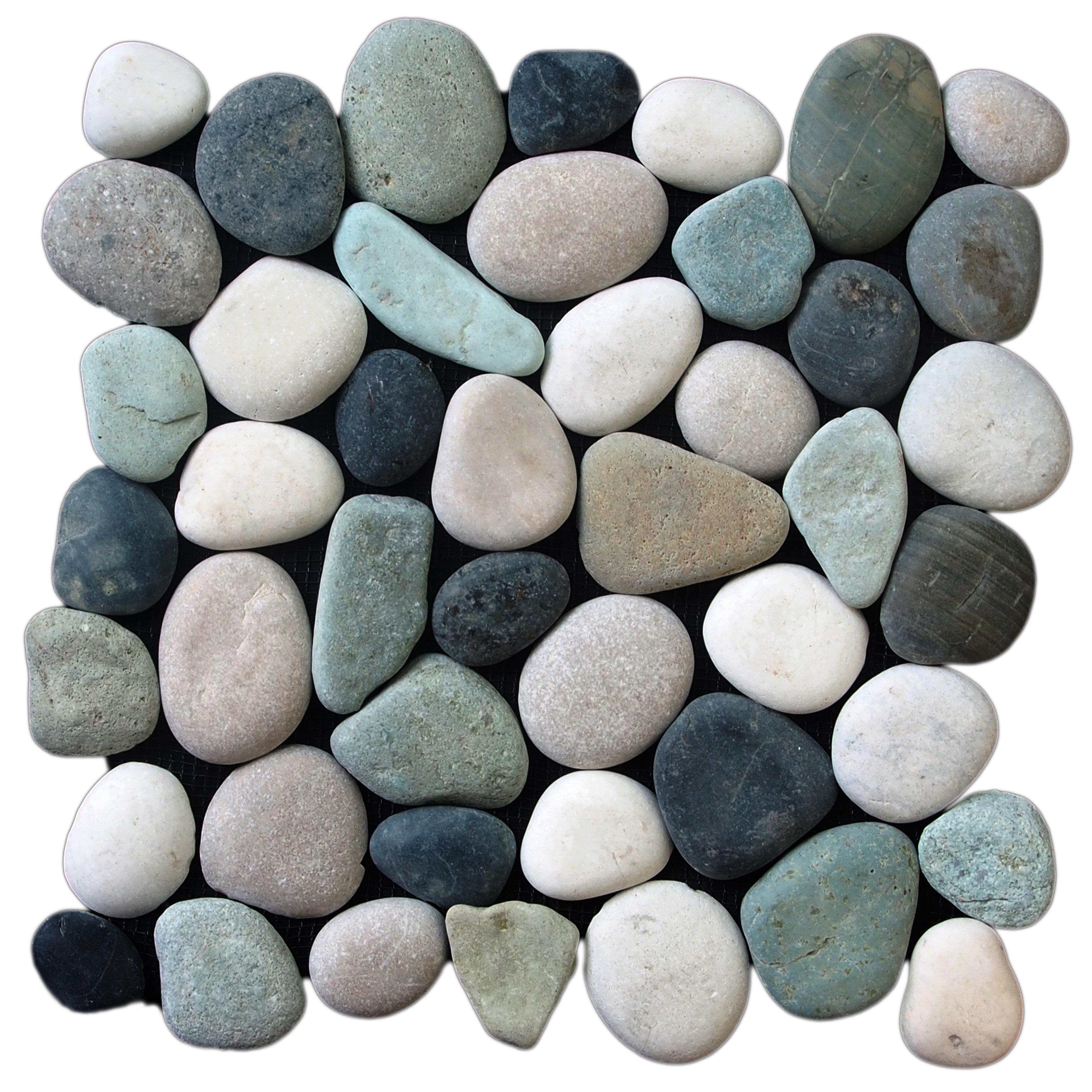 Mixed Color Ceramic Fire River Stones Set Of 24 Charcoal