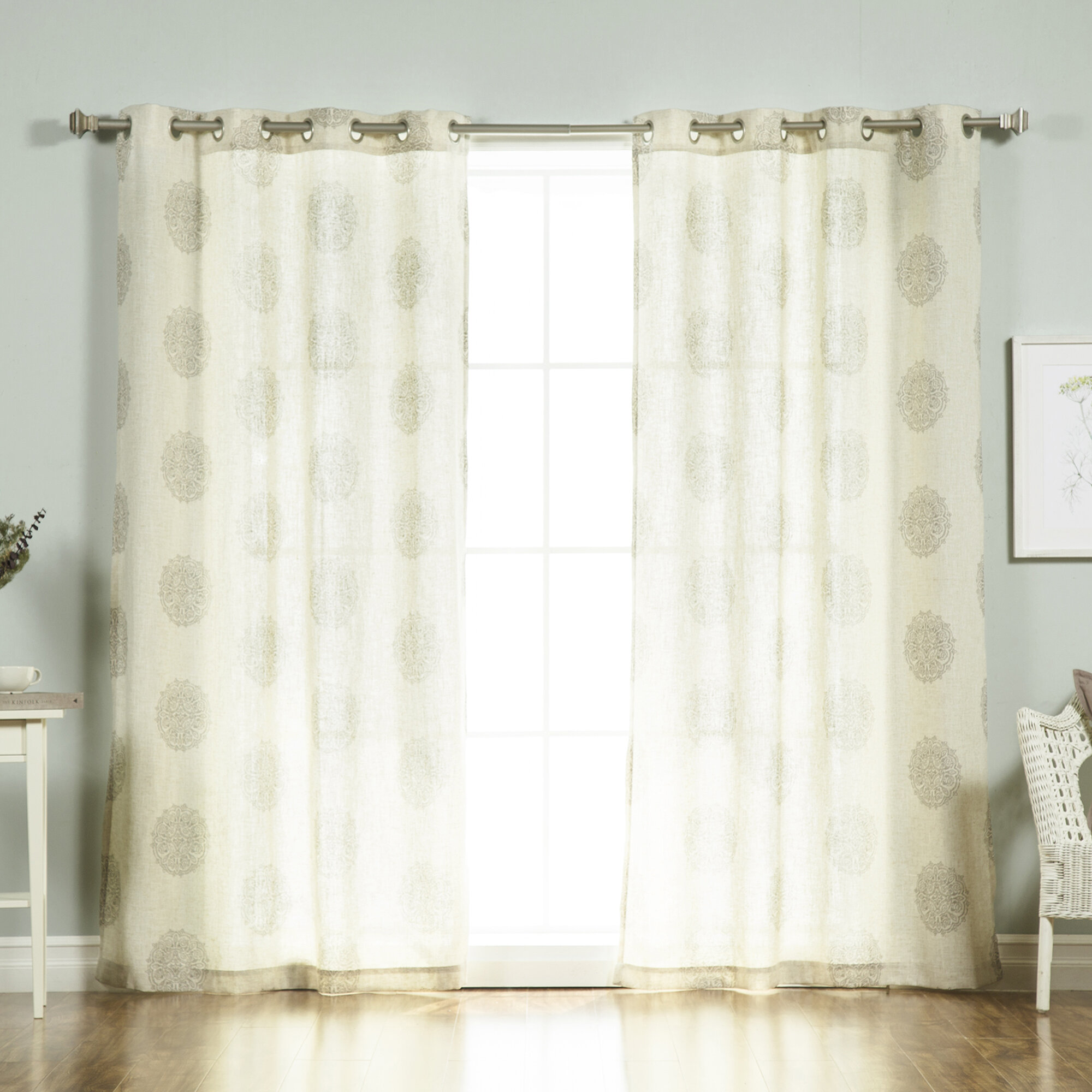 Mistana Carney Medallion Geometric Sheer Grommet Curtain Panels Reviews