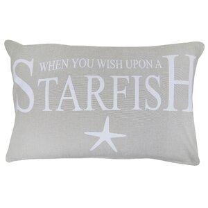 Wish Upon a Starfish Printed Decorative 100% Cotton Lumbar Pillow