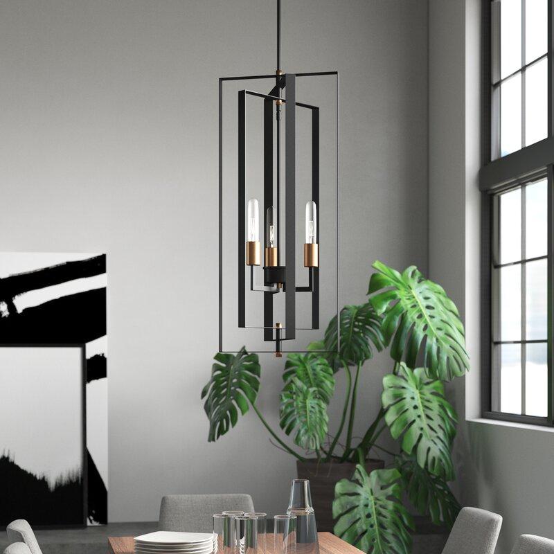 Dewees 3 Light Geometric Chandelier Amp Reviews Allmodern