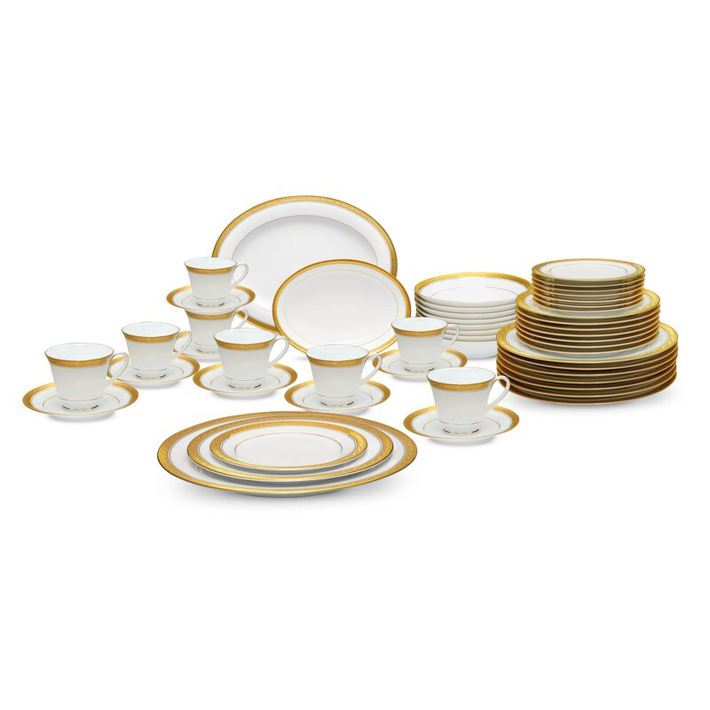 Crestwood Gold 50 Piece Dinnerware Set Service for 8  sc 1 st  Wayfair : dinnerware for 8 - pezcame.com