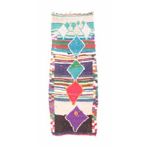 Azilal Vintage Moroccan Hand Knotted Wool Pink/Purple/Teal Area Rug