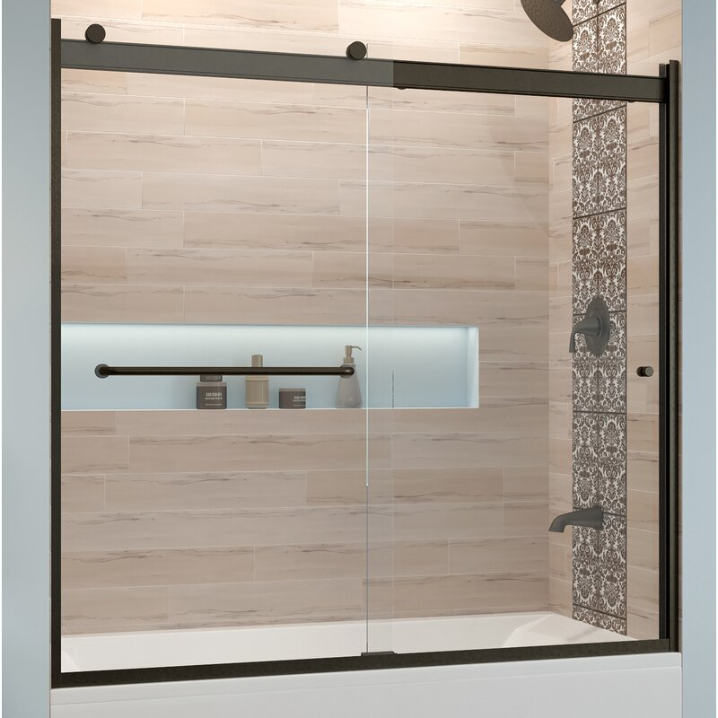 "Basco Rotolo 60"" x 57"" Bypass Semi-Frameless Tub Door  Glass Type: Clear, Finish: Oil Rubbed Bronze"