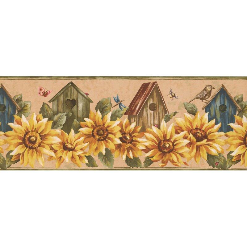 "August Grove Bessette Sunflower and Birdhouse Retro Design 15' L x 9"" W Floral and Botanical Wallpaper Border Wallpaper Border | Wayfair"