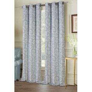 Burnabbie Floral Room Darkening Grommet Curtain Panels (Set of 2)