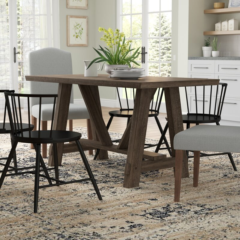 Leming Farmhouse Style Trestle Dining Table