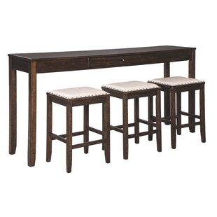 Chapdelaine 4 Piece Solid Wood Breakfast Nook Dining Set
