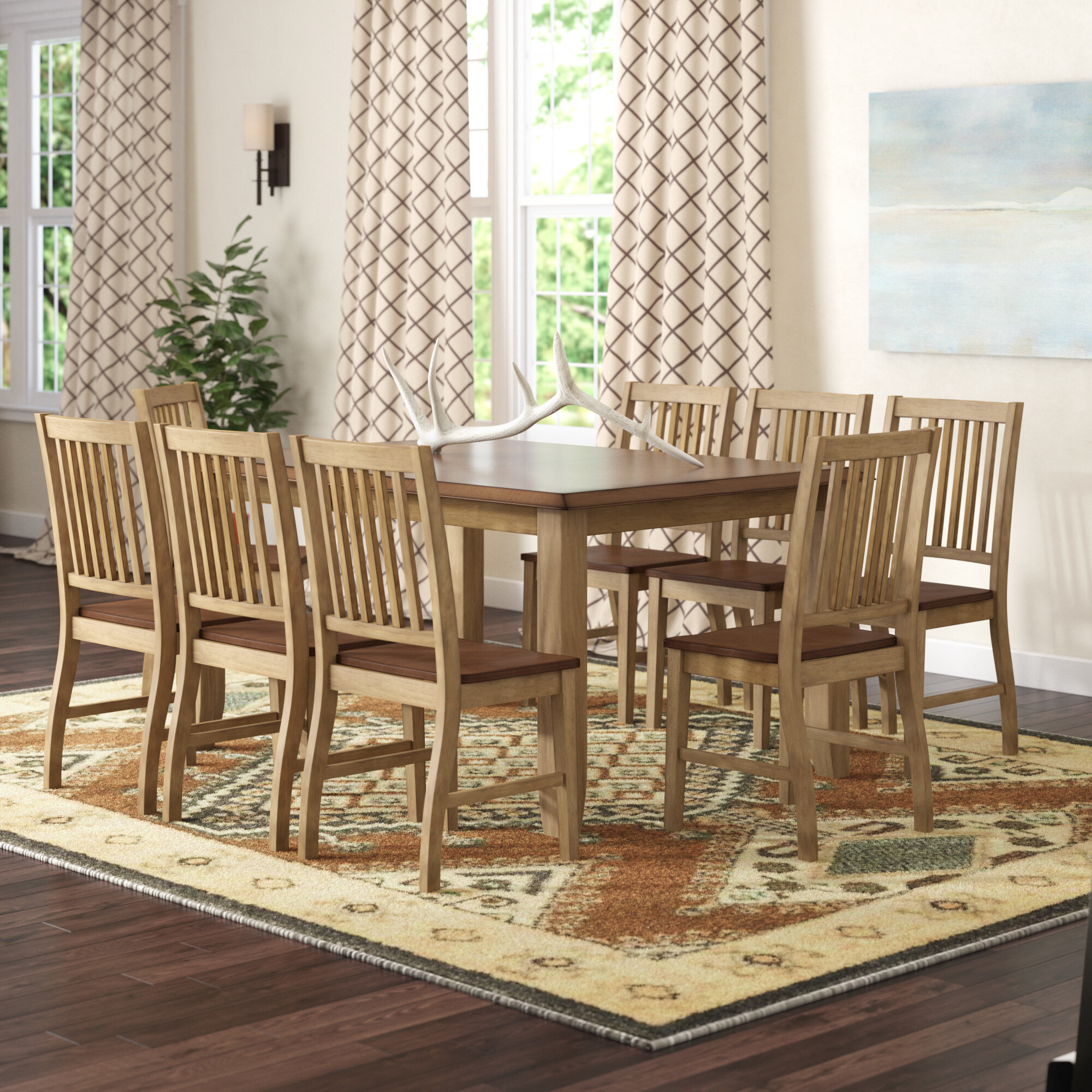 Beau Huerfano Valley 9 Piece Extendable Solid Wood Dining Set