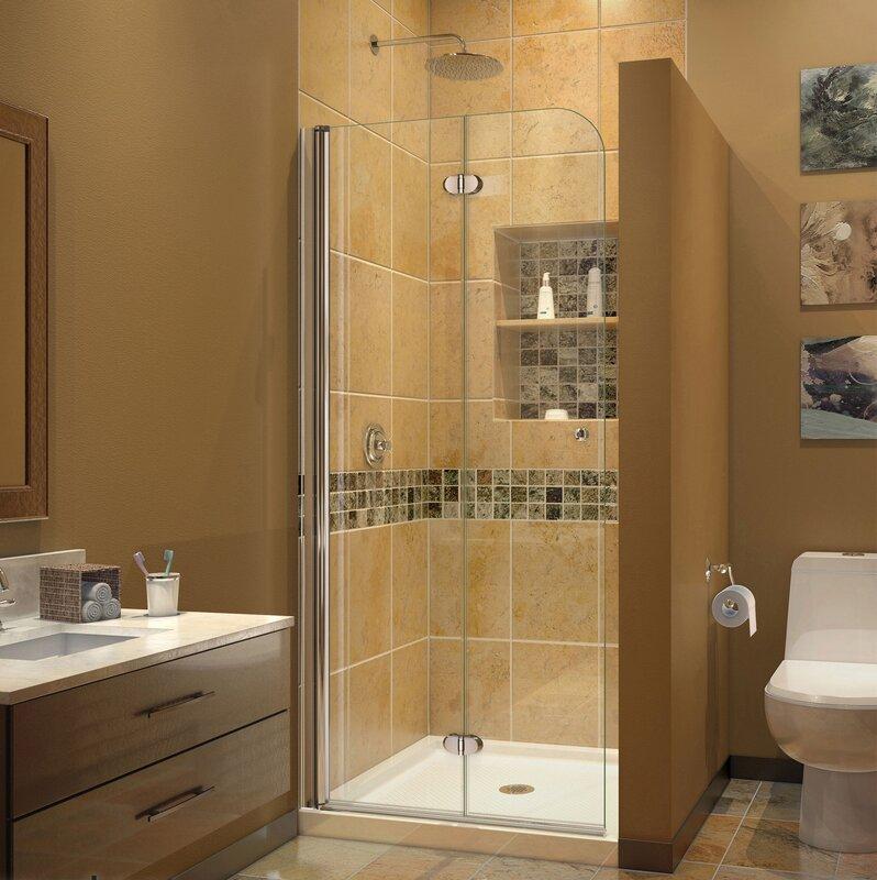 Aqua Fold 45.9\  x 72\  Folding Semi-Frameless Shower Door with Clearmax™ & DreamLine Aqua Fold 45.9\