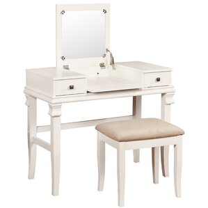 vanity set with stool and lighted mirror. Leister Vanity Set with Mirror Makeup Tables and Vanities You ll Love  Wayfair