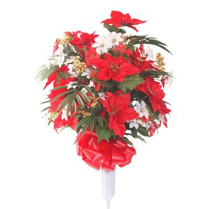Signature Round Poinsettia Floral Vase Arrangement