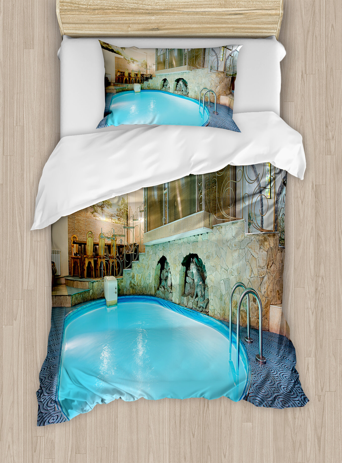 Ambesonne Modern Swimming Pool In Spa Interior Resort Relaxation Therapy Theme Duvet Cover Set Wayfair