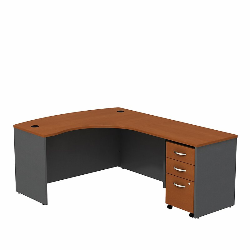 Aspenhome Warm Cherry Executive Modular Home Office: Bush Business Furniture Series C L Shaped Desk With Mobile