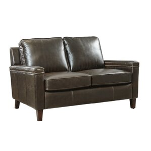 Klas Leather Loveseat by 17 Stories