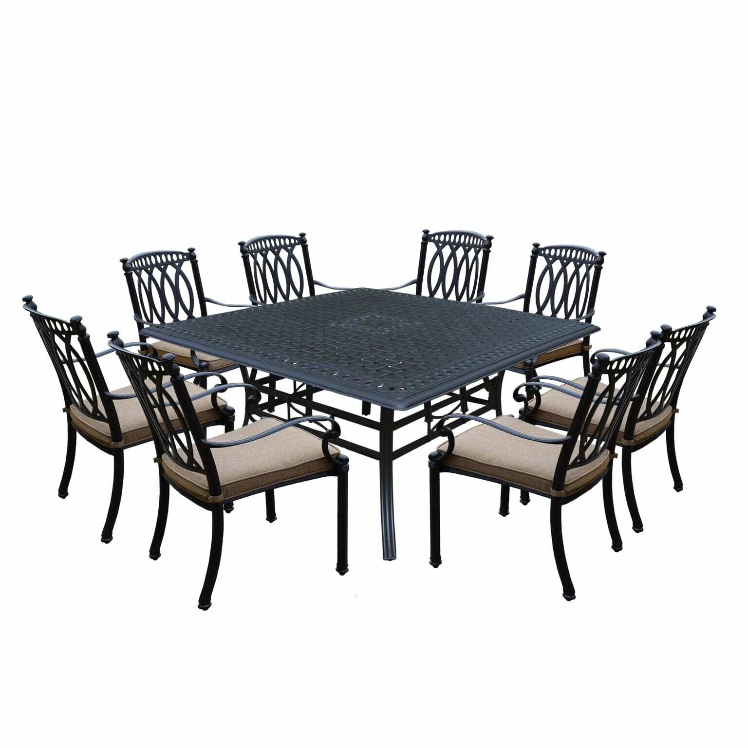 Darby Home Co Otsego 9 Piece Cast Aluminum Dining Set With Cushions Wayfair