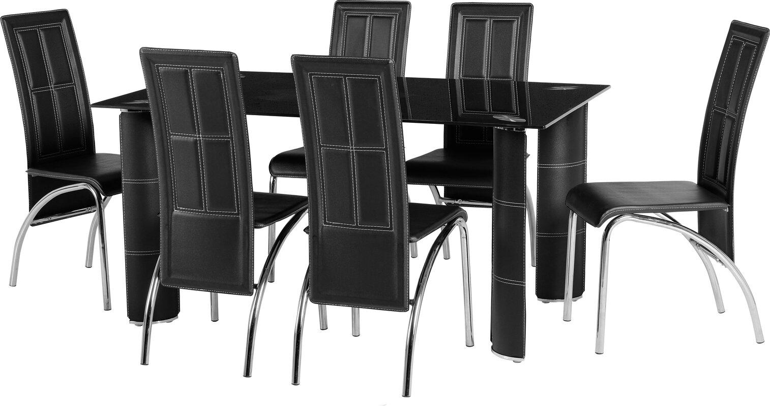 dcor design essgruppe meadows mit 6 st hlen bewertungen. Black Bedroom Furniture Sets. Home Design Ideas