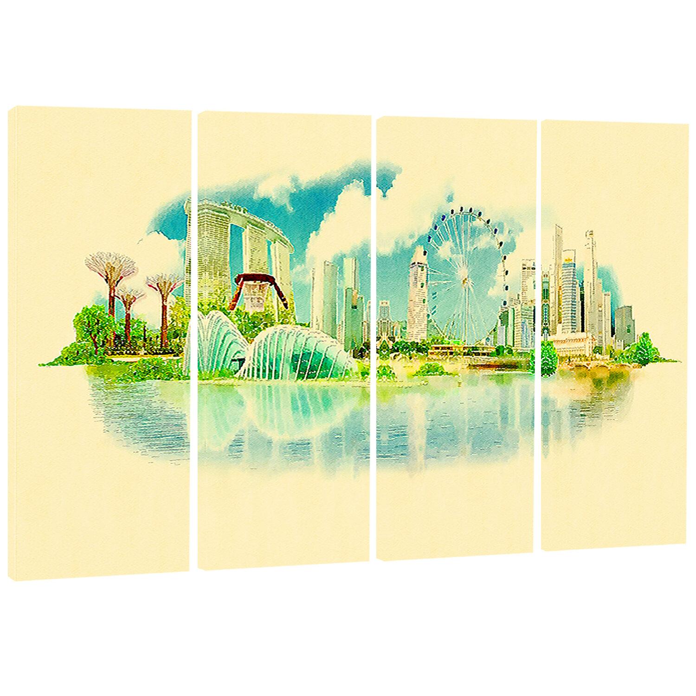 DesignArt Singapore Panoramic View - Cityscape 4 Piece Painting ...