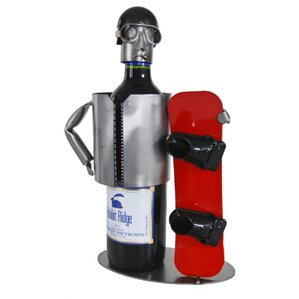 Snowboarder 1 Bottle Tabletop Wine Rack by H & K SCULPTURES